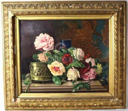 Bernard PEGOT(1830-1900). Nature morte aux roses et à la jardinière. Signée en