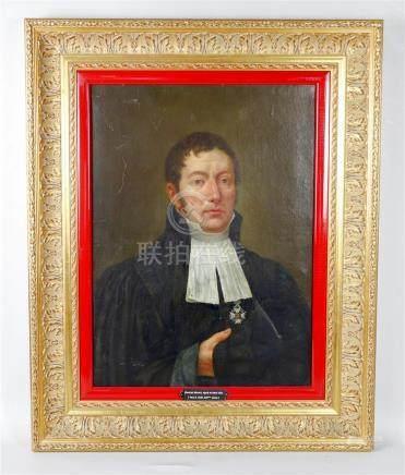 Ecole anglaise du XIXème siècle,  Paul D. MAY Portrait d'un juge ou d'un avocat