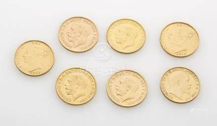 7 pièces or comprenant : 4 demi souverain Georges V, 2 Victoria et 1 Edouard VI