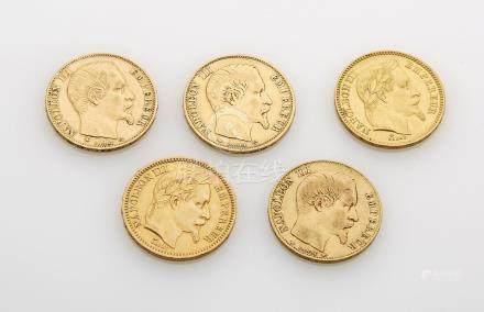 5 pièces de 20 Francs or Napoleon. Poids brut : 32g