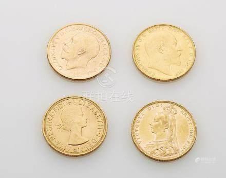 4 Souverains or (Edouard VII, Georges V, Elisabeth II, Victoria). Poids brut :