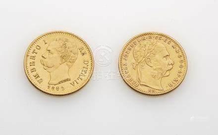 2 pièces d or ( Umberto d Italie et Franz Joseph de Hongrie). Poids brut : 12.8
