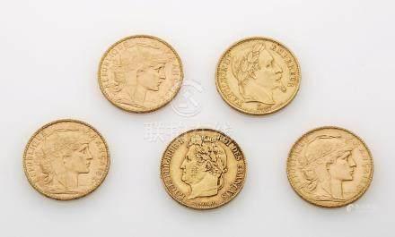 5 pièces de 20 Francs or. Poids brut : 32.2g