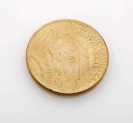 Pièce de 20 Dollars or 1924. Poids brut : 33.4g