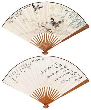 唐云 潇湘旅影 书法 成扇 水墨、设色纸本