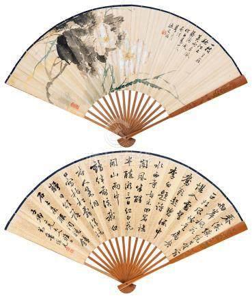 朱偁 花卉 行书诗 成扇 水墨金笺纸本、设色绢本