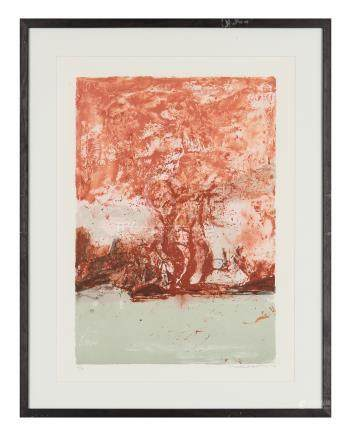 赵无极(1921~2013) 无题 镜框 彩色石版版画   Arches布纹纸