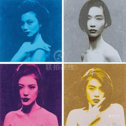 Steven Pollack 女性肖像版画 (四张) 镜心 综合材料