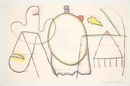 元永定正(1922~2011) もくたんでひいたせん 镜心 石版画