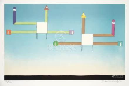 元永定正(1922~2011) ふたつのしろいかたちから 镜心 石版画