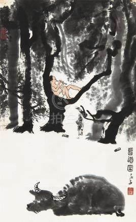 李可染(1907~1989) 暮韵图 立轴 设色纸本