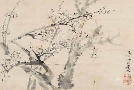 唐云(1910~1993) 墨梅 立轴 水墨纸本