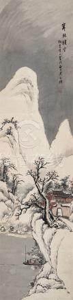 吴石僊(1845~1916) 寒林积雪 立轴 设色纸本