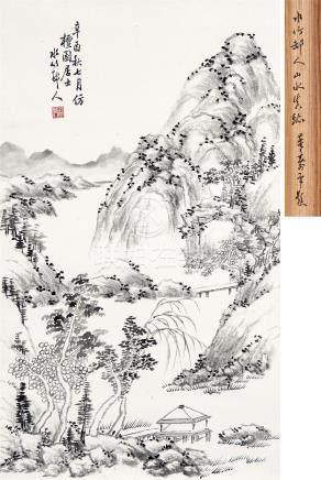 徐世昌(1855~1939) 1921年作 山水 立轴 水墨纸本