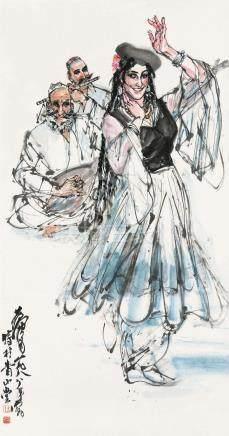 黄胄(1925~1997) 1988年作 舞 镜框 设色纸本