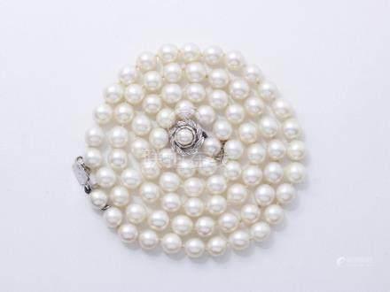 Long collier composé d'un rang de perles de culture d'environ 7.9 à 8.3 mm, agr
