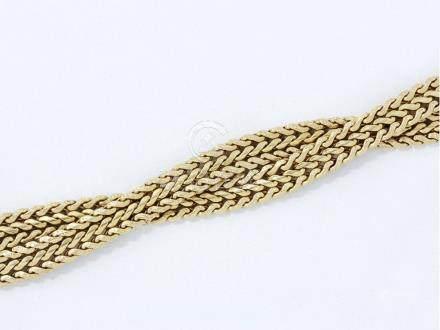 Bracelet souple en or 750 millièmes, composé de 2 bracelets entrelacés tressés