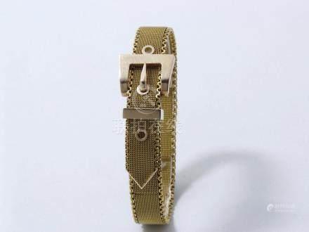 Bracelet ceinture en or 375 millièmes à maille milanaise, agrémenté d'un fermoi