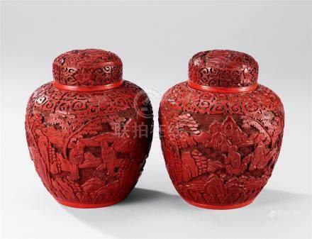 剔红人物纹茶叶罐 (一对)