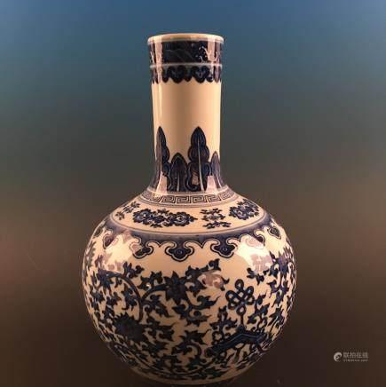 Chinese Blue-White 'Floral' Globular Vase, Qianlong Mark