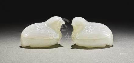 清乾隆   白玉鵪鶉蓋盒一對