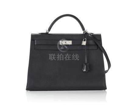 KELLY 40 SELLIER EPSOM LEATHER IN BLACK COLOUR WITH PALLADIUM HARWARE. HERMÈS, 2006