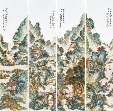 1931年 粉山水瓷板一套四張 陳寶昌作