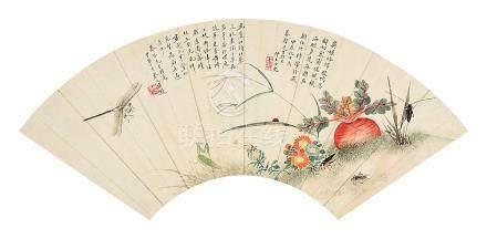 黃仲玉  花蟲 扇面 (蔡元培題)