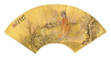 黃均 仕女  金盞扇面