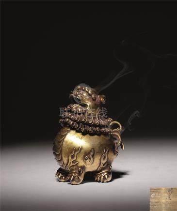 十七世纪 铜鎏金狮形香熏