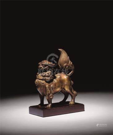 唐-宋 铜鎏金狮子小香熏
