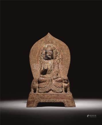 东魏 石雕彩绘释迦牟尼佛像