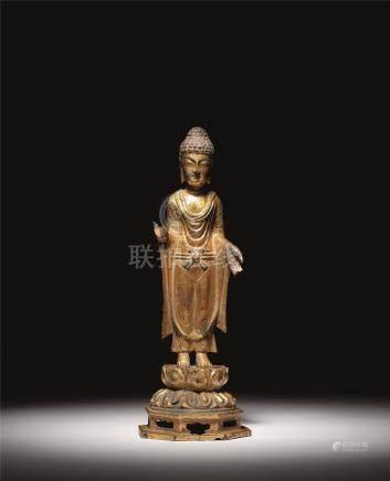 七-八世纪 铜鎏金如来佛立像