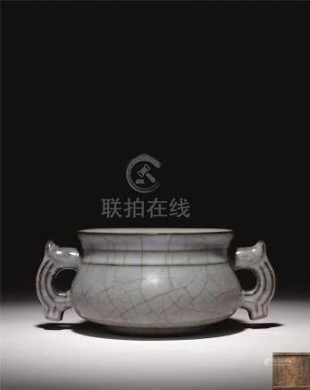 南宋 官窑双兽耳簋式炉