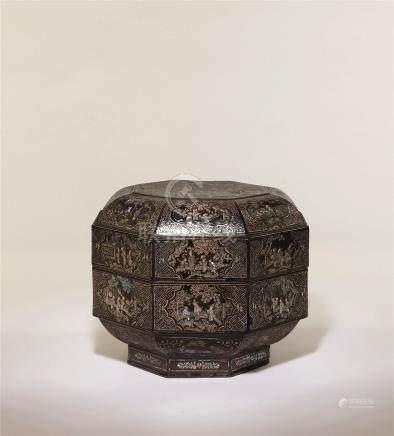 元 黑漆嵌螺钿人物故事图八角重盒