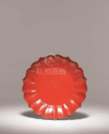 宋 红漆素面菱花盘