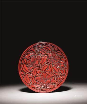 元-明初 剔红栀子花纹圆盘