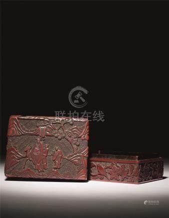 明中期 剔红松下福鹿高士图长方盒