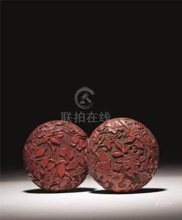 明 剔红花鸟纹两面雕大香盒