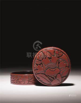 元 张成制剔红牡丹纹大香盒