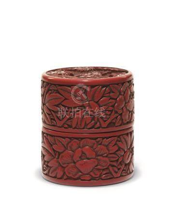 明 剔红高仕图高香盒