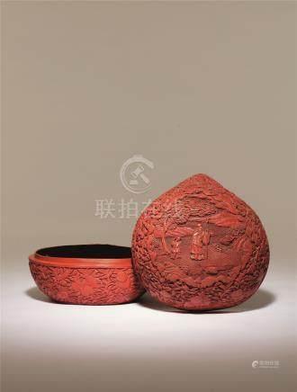 清乾隆 剔红寿仙桃形盒