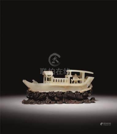 清 白玉渔船摆件