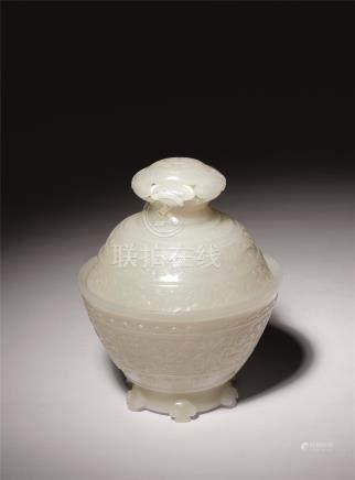 清中期 白玉西番莲纹如意钮盖碗