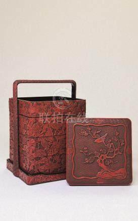 红漆花鸟四层提梁盒