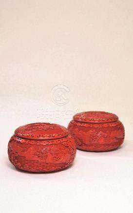 剔红山水楼阁围棋罐 (一对)
