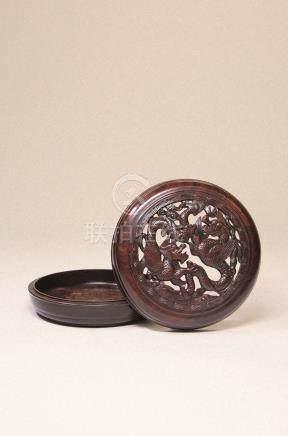清 红木雕双龙纹圆盒