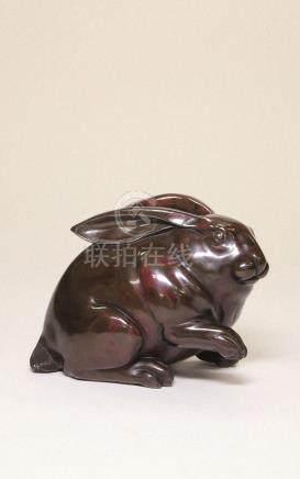 明治时代 古铜兔子置物