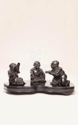 明治时期 古铜婴戏摆件