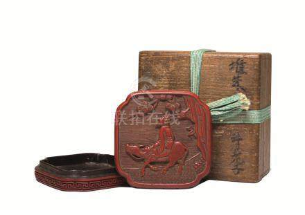 明 剔红仙人骑牛图香盒